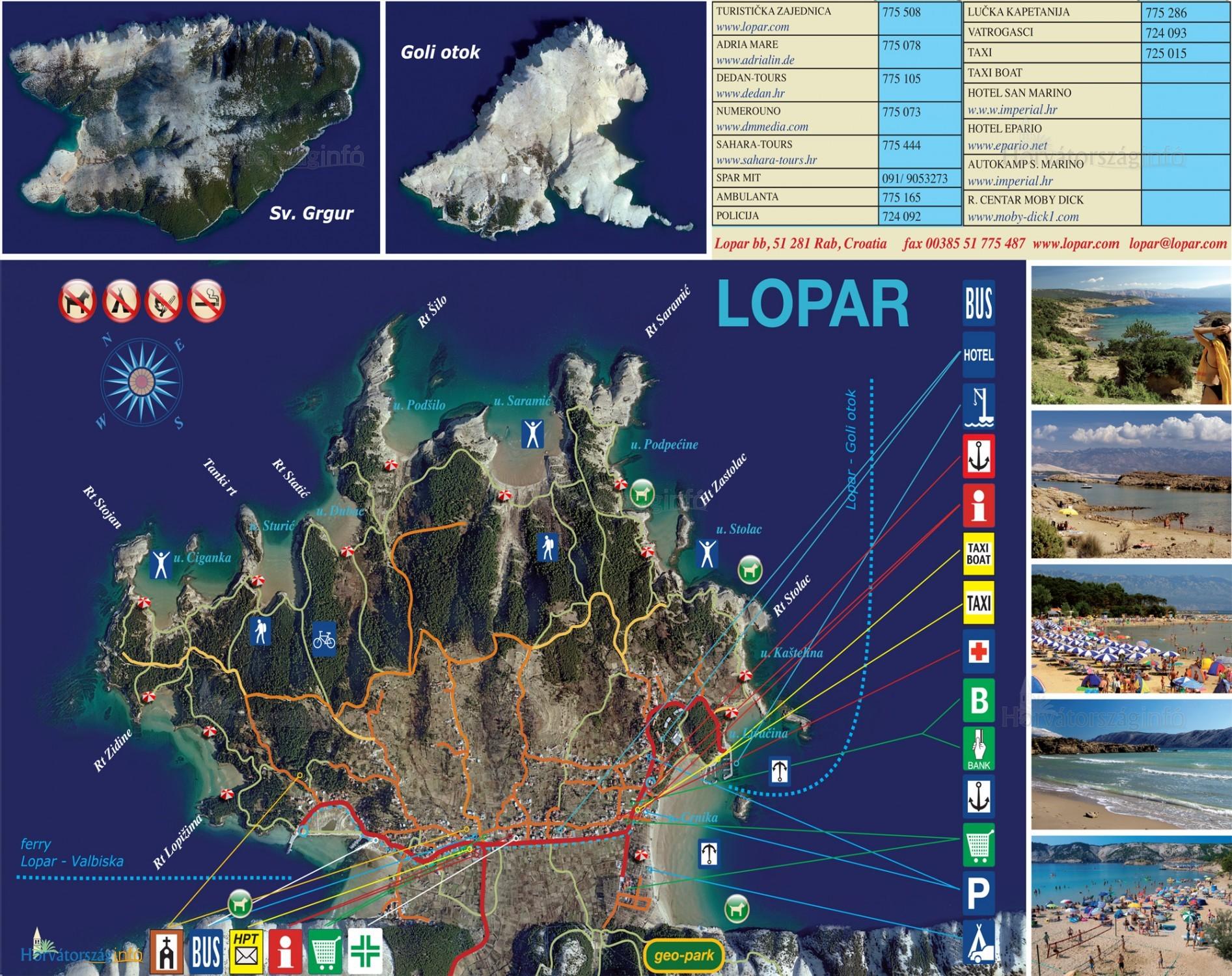 7ae19c9e16 Lopar térképén jól látható az összes strand. Vannak nudista és kutyás  részek is. Sok
