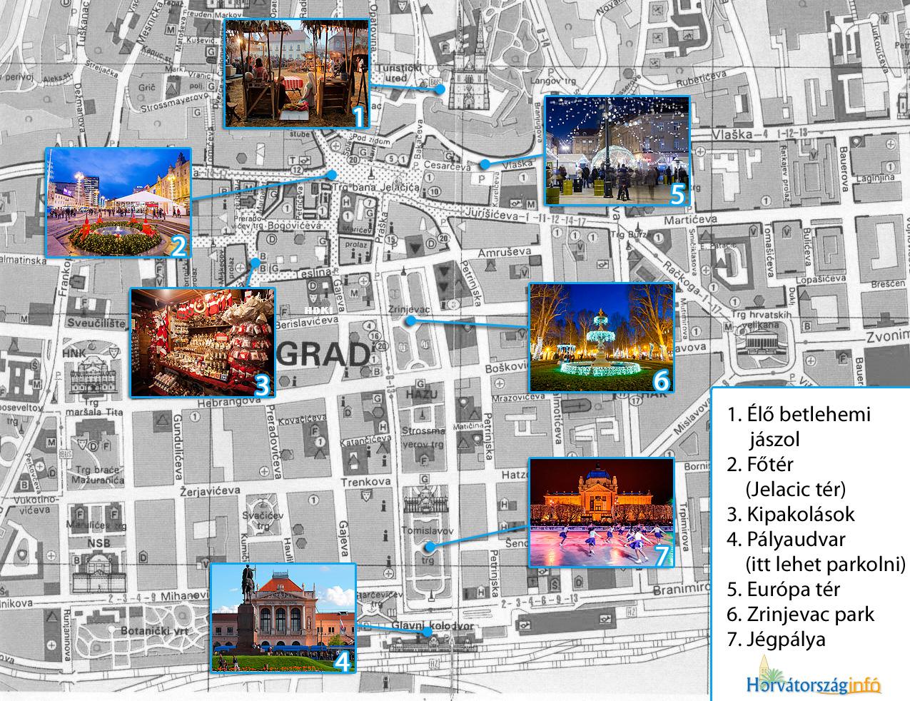zágráb térkép Advent Zágrábban – forralt borozzunk a horvátoknál! zágráb térkép