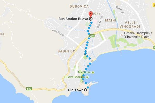 Budva buszpályaudvar megközelítése gyalogosan az óvárostól