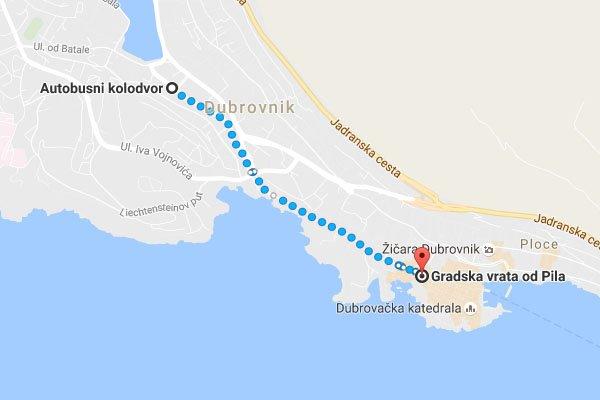 Dubrovnik buszpályaudvar megközelítése gyalogosan az óvárostól