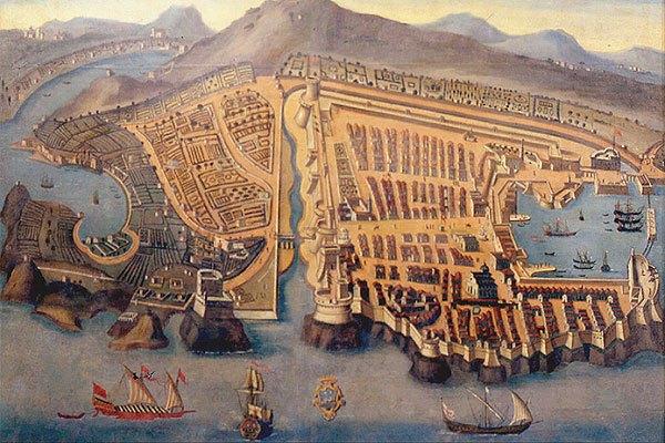 Régi térkép Dubrovnikról, a XVI. századból.