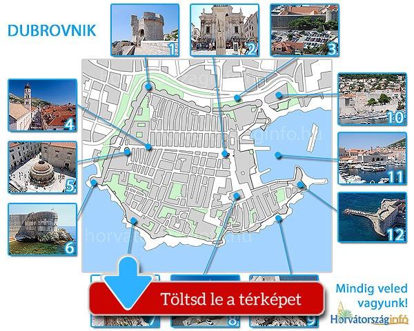 Dubrovnik térképe a látnivalókkal