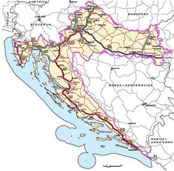 Horvátország autópálya térképe az egyes szakaszokkal