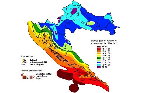 Horvátország hőtérképe