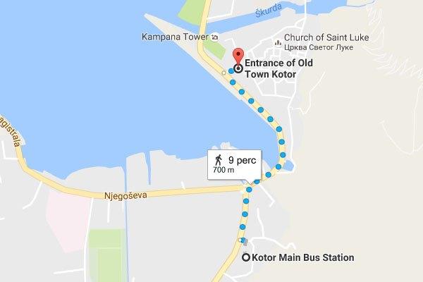 Kotor buszpályaudvar megközelítése gyalogosan az óvárostól