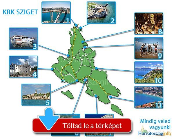 Krk sziget térképe a látnivalókkal