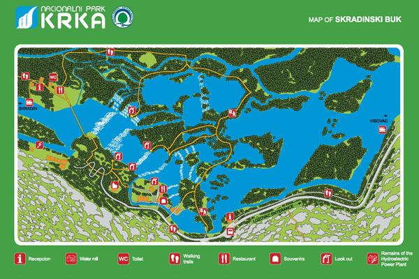 Ez a Krka vízesés térképe
