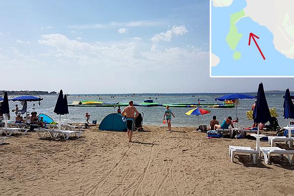 Az Isztrián Medulin homokos strandja a legnagyobb