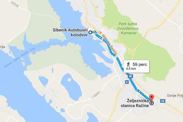 Sibenik buszpályaudvara és vasútállomása gyalogosan