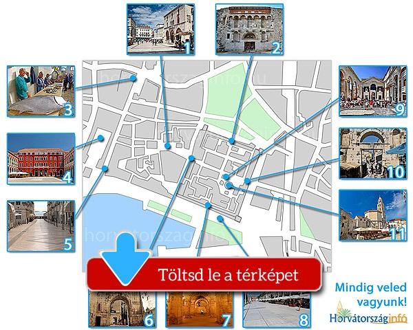 Split térképe a látnivalókkal