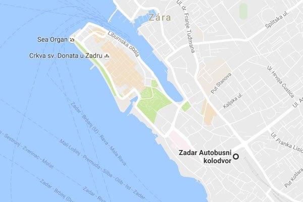 Zadar buszpályaudvar megközelítése gyalogosan