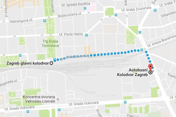 Zágráb buszpályaudvar megközelítése gyalogosan a vasútállomásról