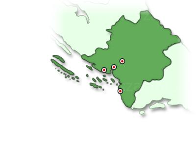 Sibenik régió térképe