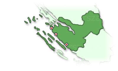 Zadar régió térképe