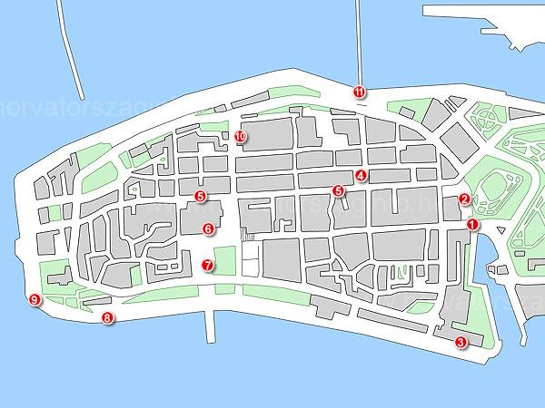 Zadar térképe a látnivalókkal